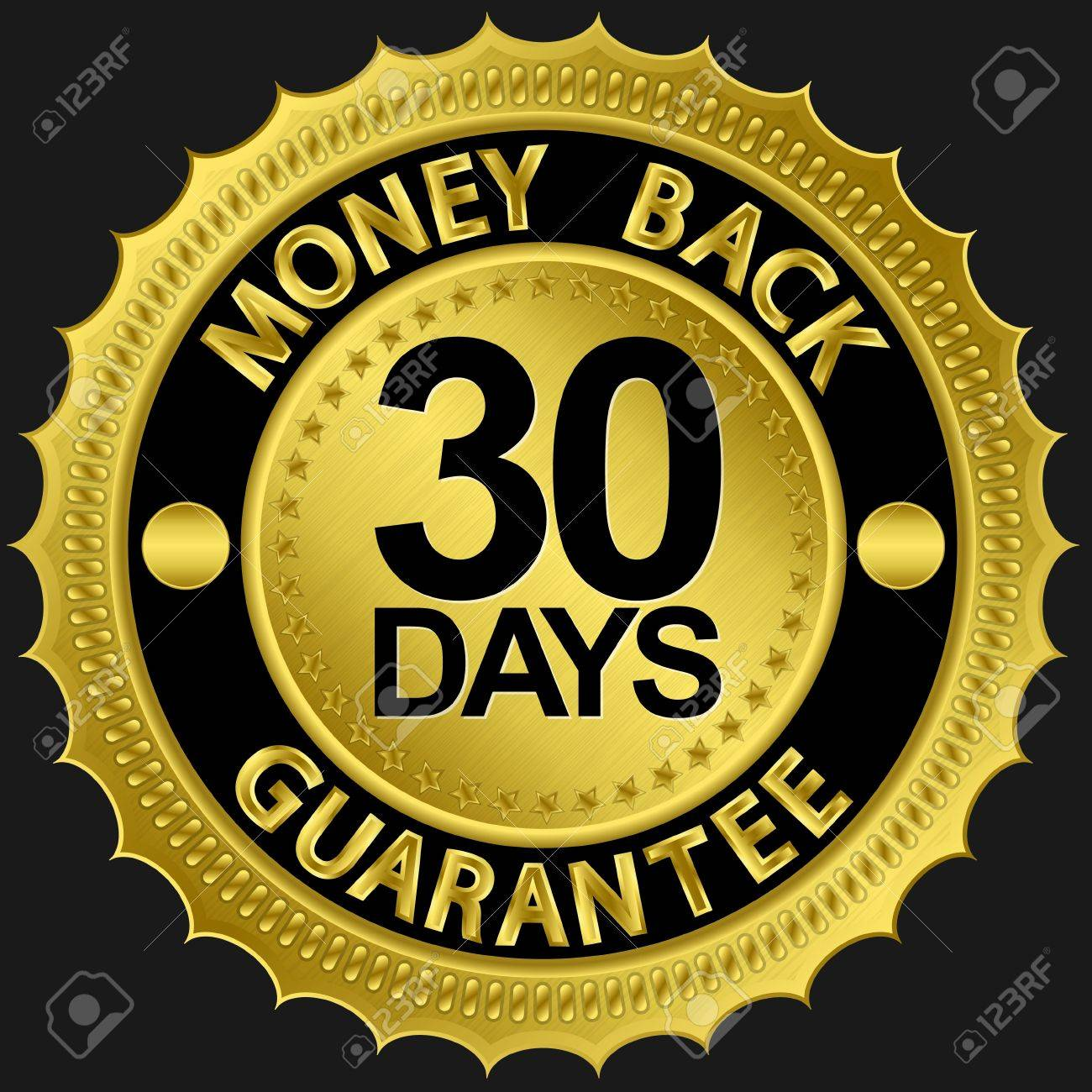 30 days money back guarantee golden sign illustration Stock Vector - 15066394