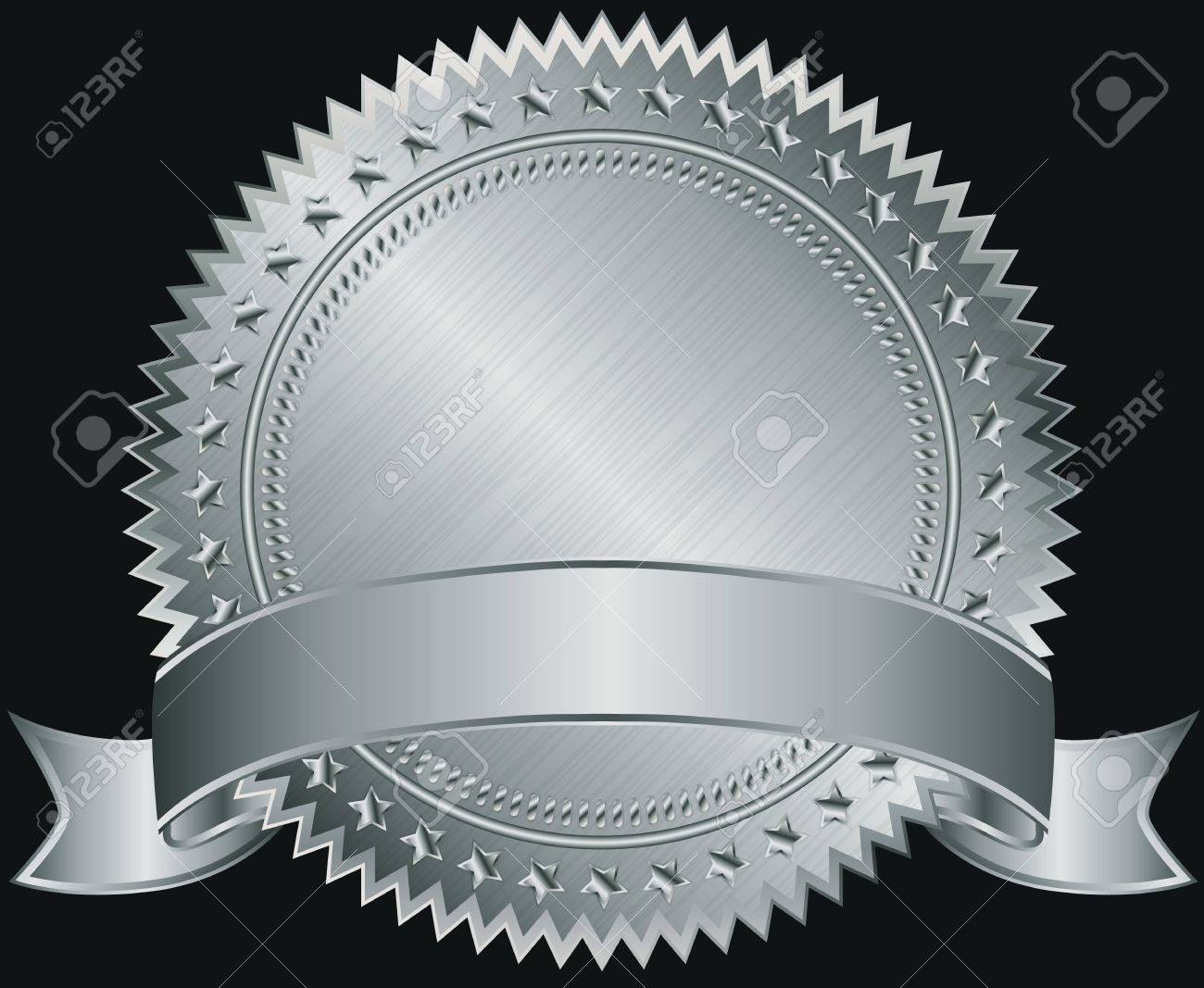 Silver blank label with silver ribbon illustration Stock Vector - 15066385