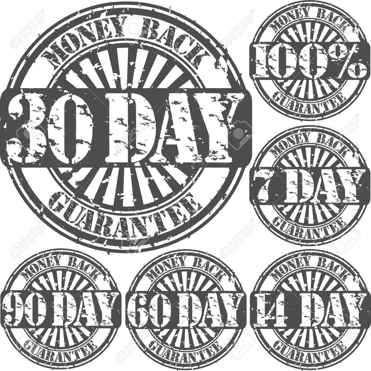 Grunge money back guarantee rubber stamp set Stock Vector - 15656500