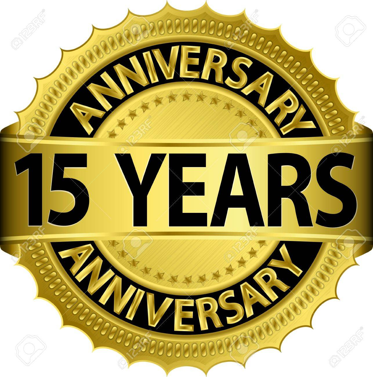 15 Years Anniversary Golden Label With Ribbon Vector Illustration Royalty Free Cliparts Vectors And Stock Illustration Image 15791147