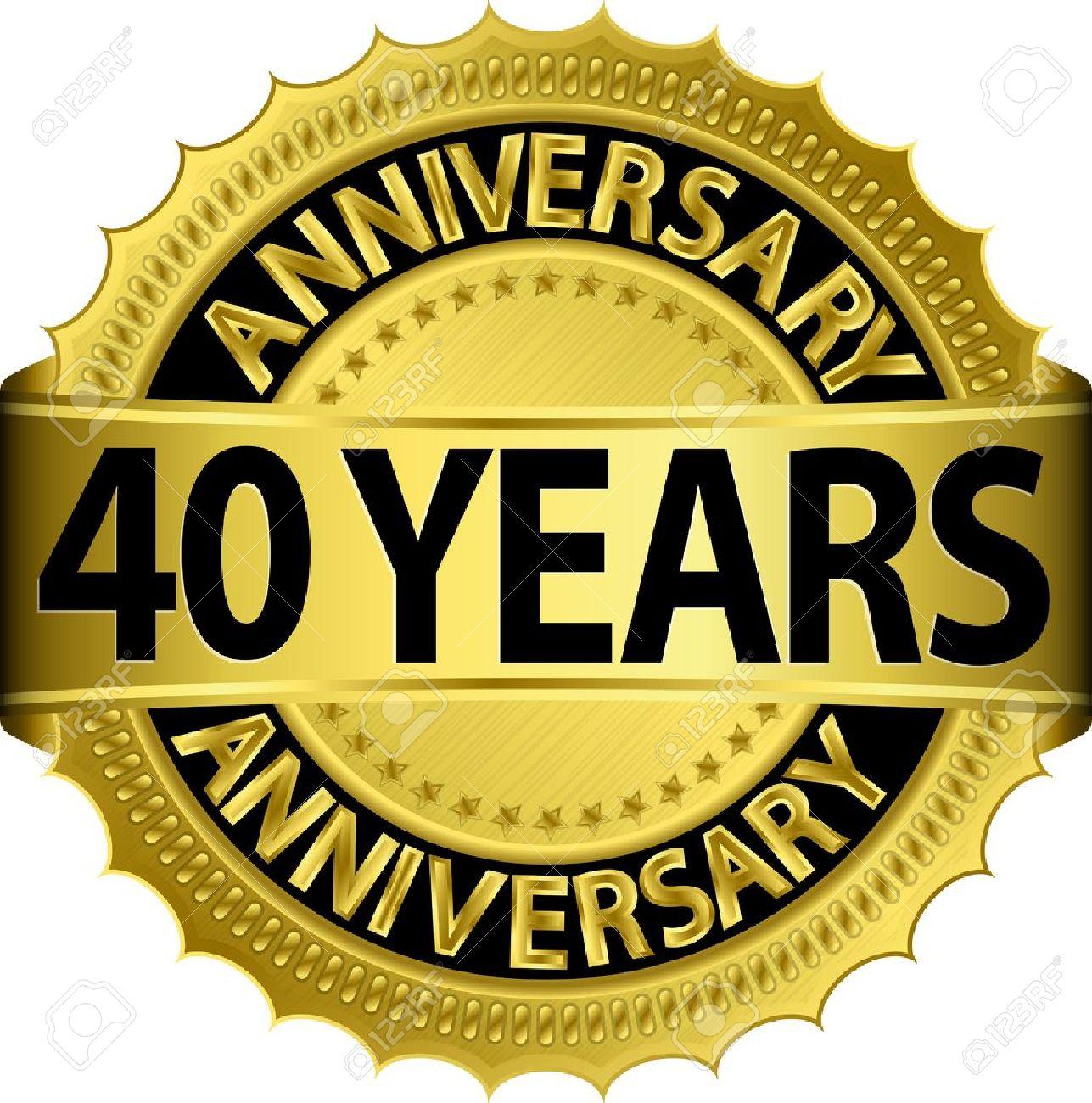 40 Jahre Jubilaum Goldenen Etikett Mit Band Vektor Illustration