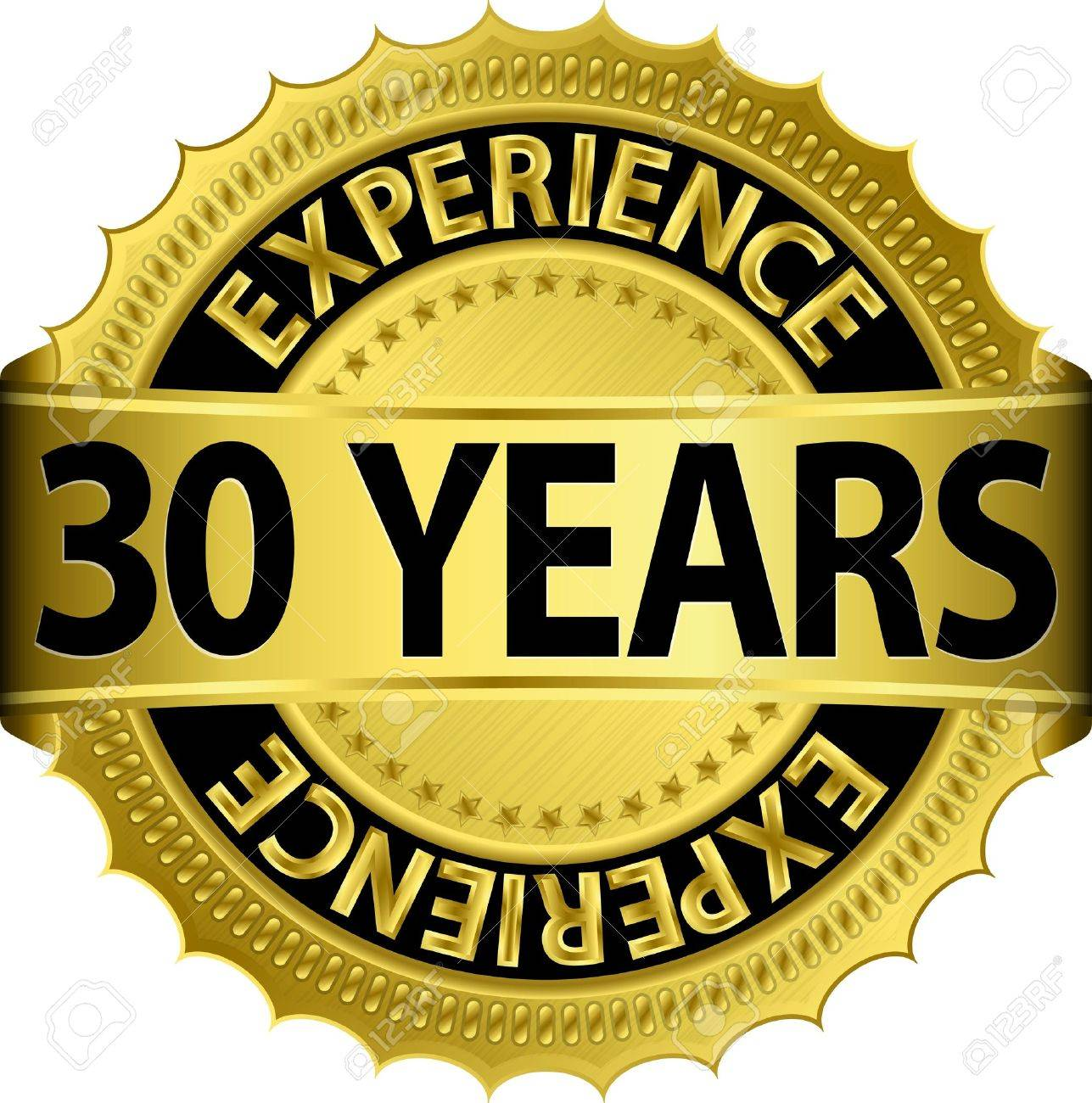 30 years experience golden label with ribbon, vector illustration Stock Vector - 15844560