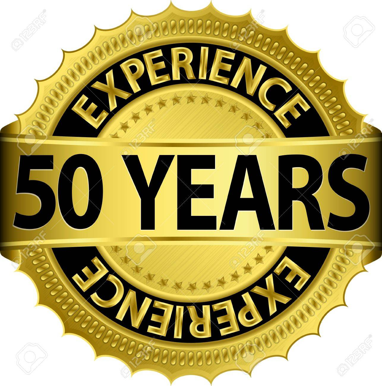 50 years experience golden label with ribbon, vector illustration Stock Vector - 15844545