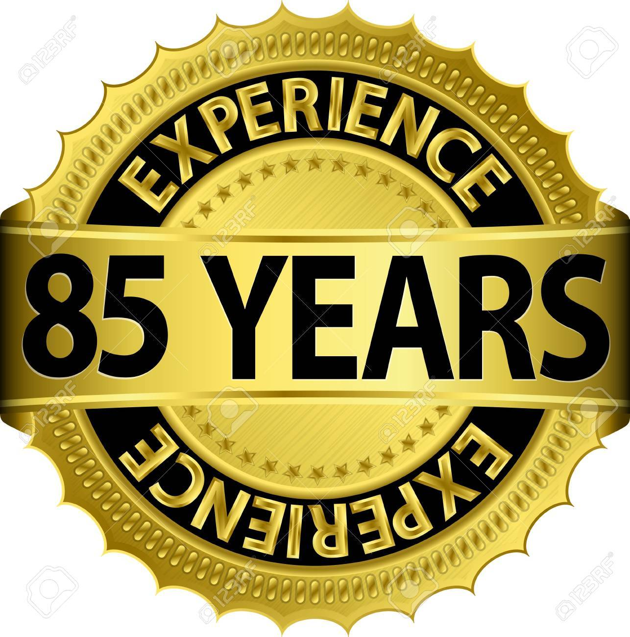 85 years experience golden label with ribbon, vector illustration Stock Vector - 15844552