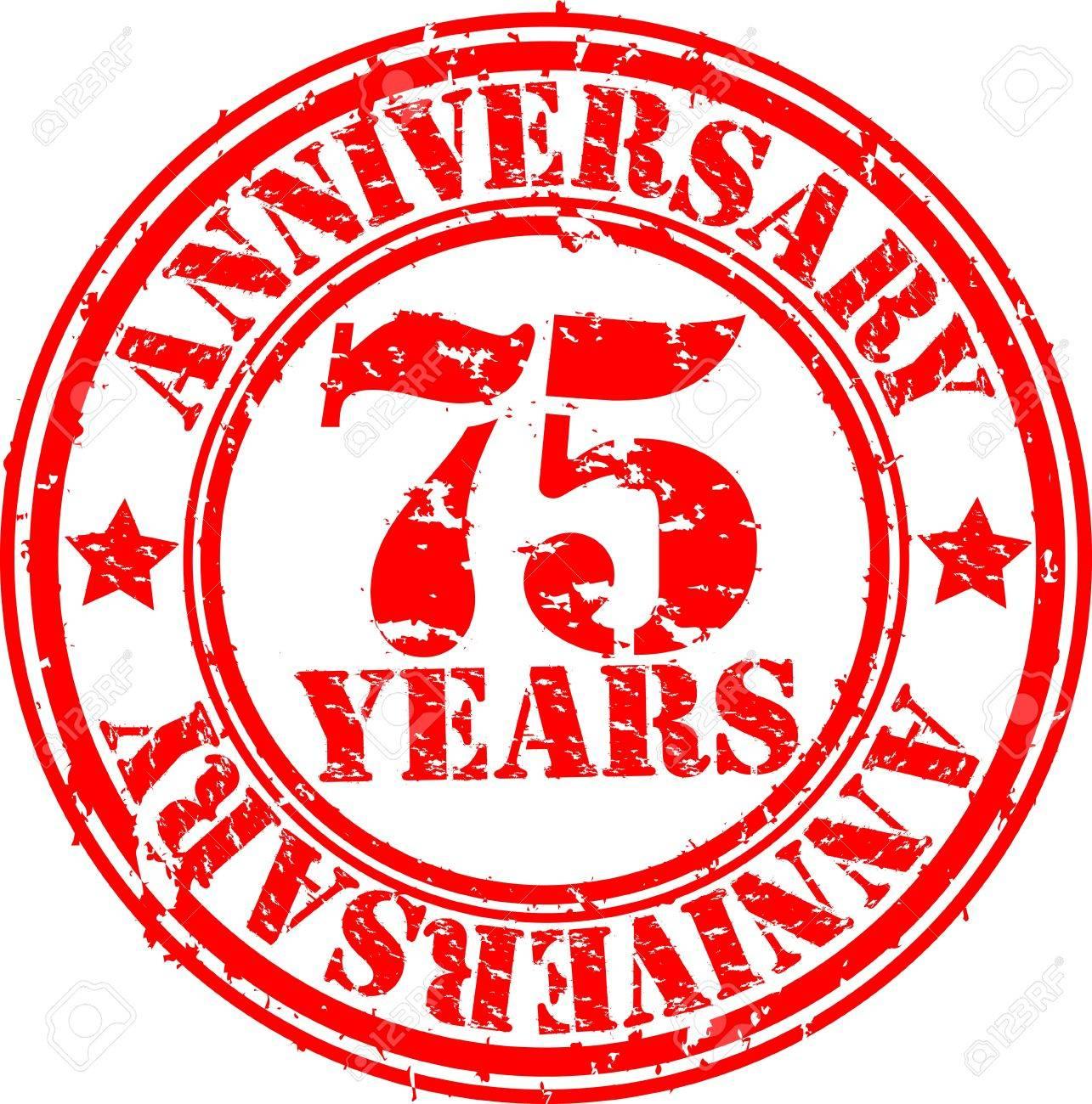 Grunge 75 years happy birthday rubber stamp, illustration Stock Vector - 16184220