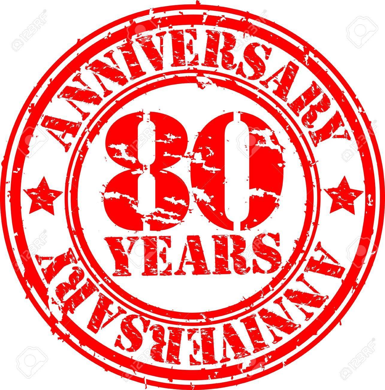 Grunge 80 years happy birthday rubber stamp, illustration Stock Vector - 16184222