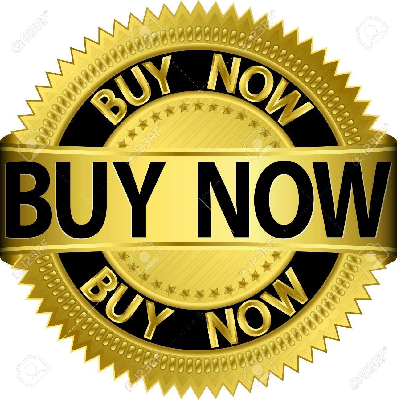 Buy now golden label, vector illustration Stock Vector - 16540893