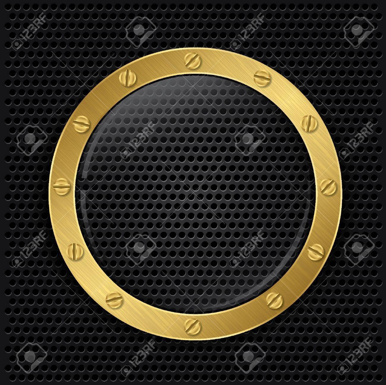Glass in golden frame on abstract metal speaker grill background, vector illustration Stock Vector - 17323688
