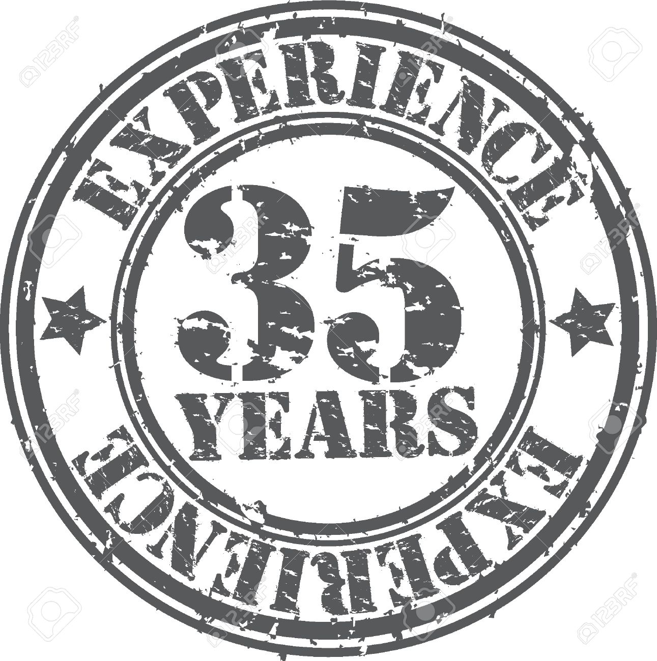grunge 35 years of experience rubber stamp vector illustration