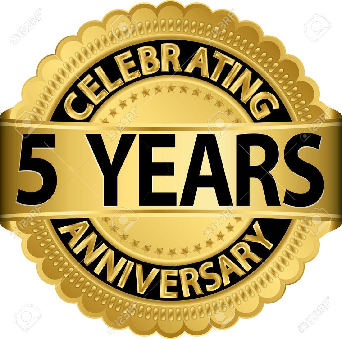 Celebrating 5 years anniversary golden label with ribbon vector celebrating 5 years anniversary golden label with ribbon vector illustration stock vector 25041869 biocorpaavc Choice Image