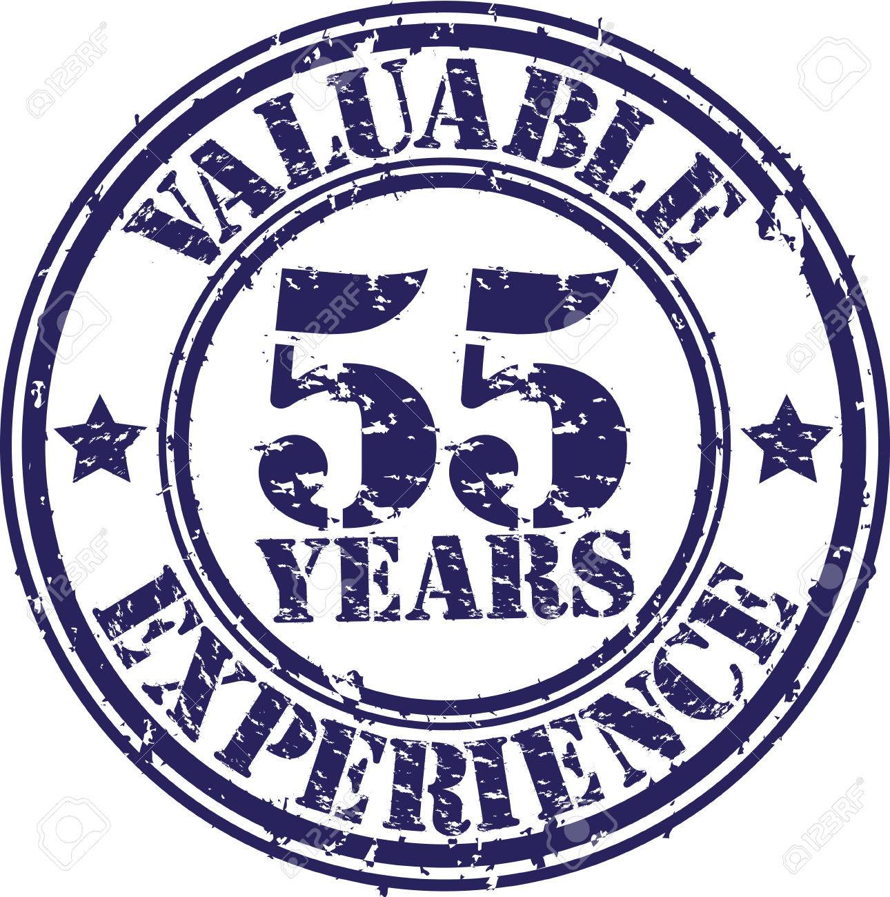 Valuable 55 Years Of Experience Rubber Stamp Vector Illustration Stock