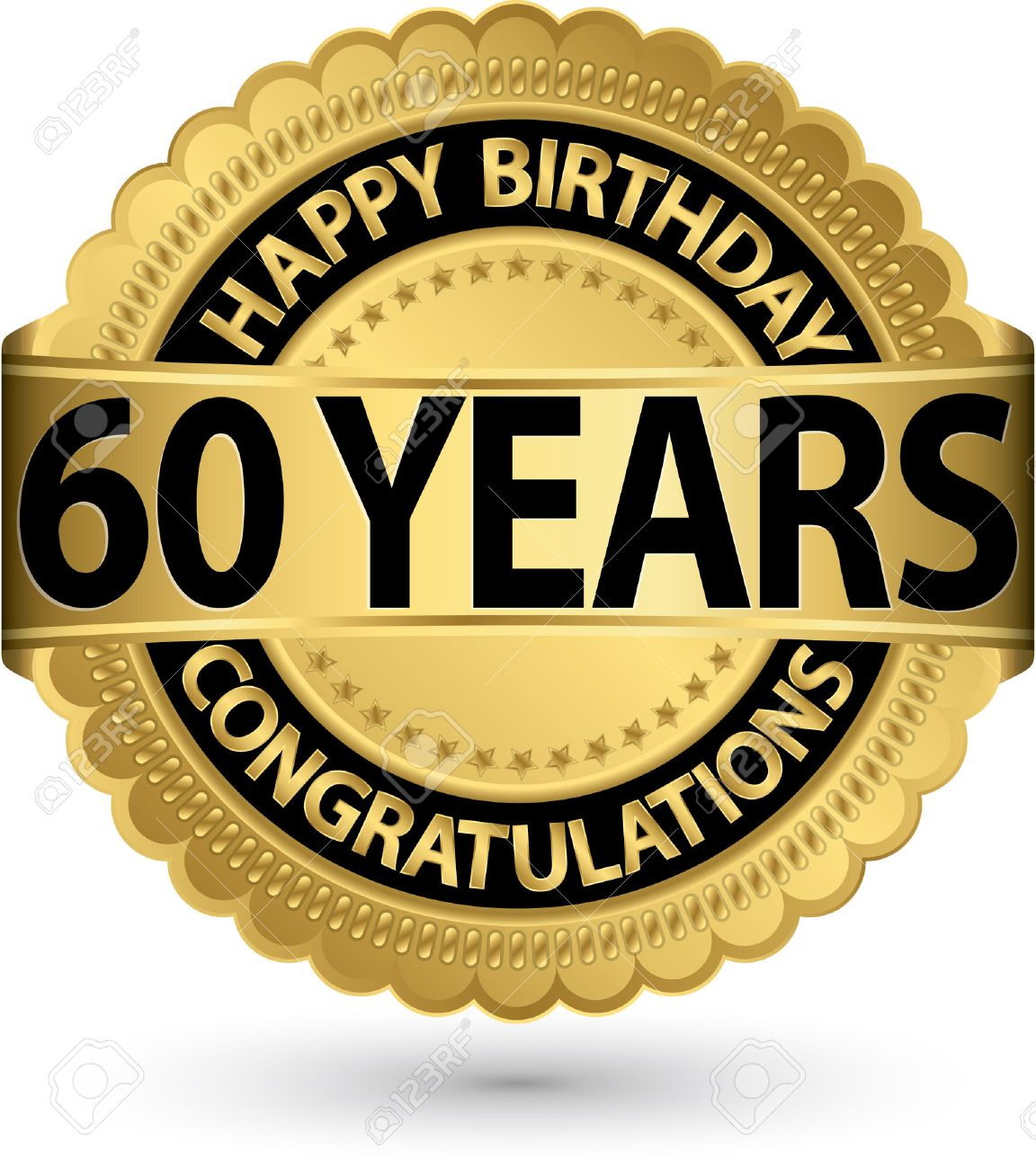 Happy Birthday 60 Years Gold Label Vector Illustration