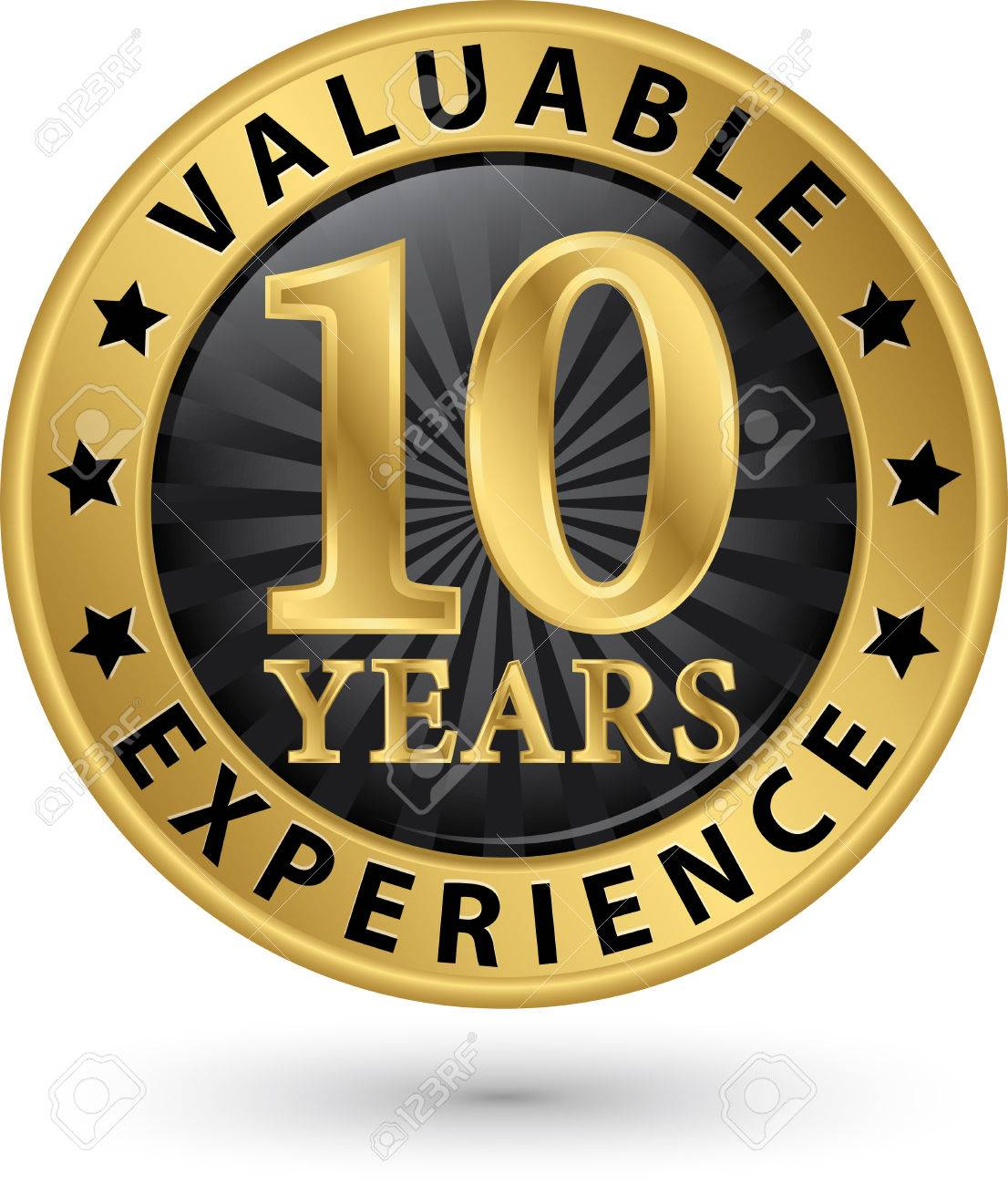 years valuable experience gold label vector illustration 10 years valuable experience gold label vector illustration stock vector 33009663