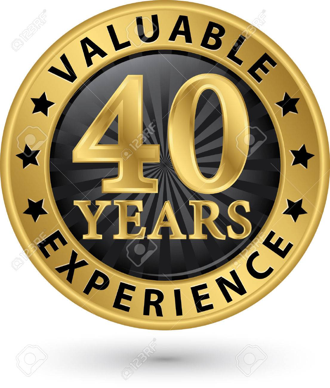 years valuable experience gold label vector illustration 40 years valuable experience gold label vector illustration stock vector 33009675