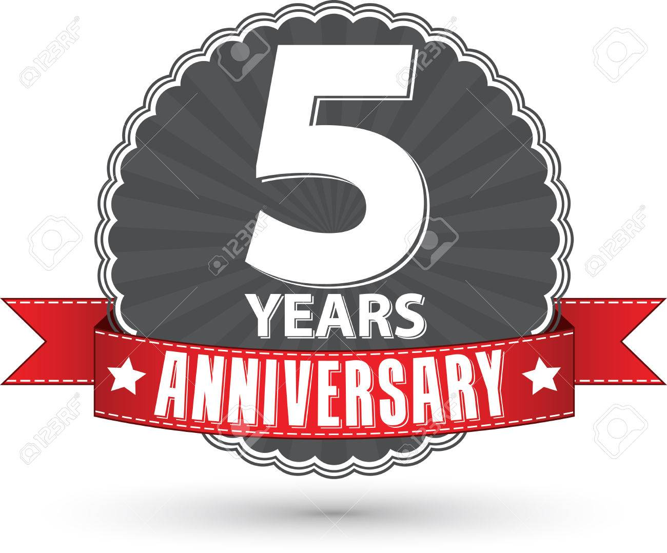 Wedding anniversary 5 years stock photos royalty free business images celebrating 5 years anniversary retro label with red ribbon vector illustration biocorpaavc Gallery