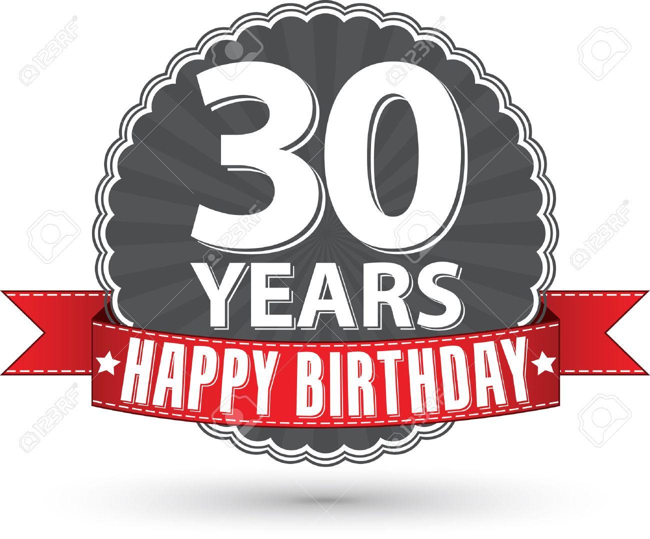Vettoriale Buon Compleanno 30 Anni Etichetta Retro Con Nastro