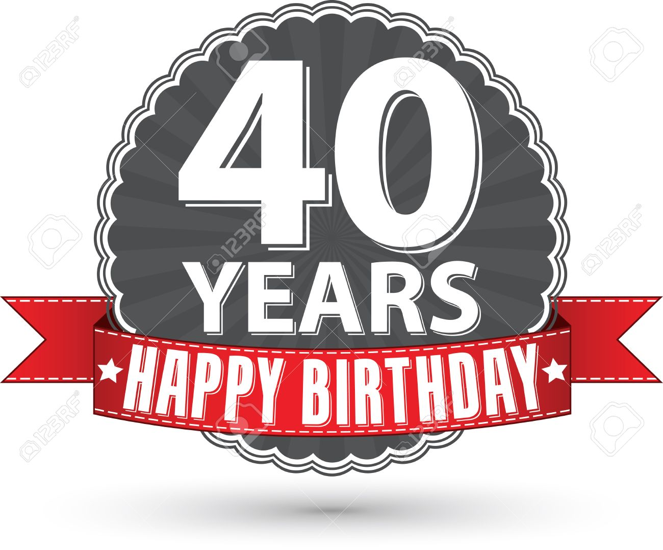 Happy birthday 40 years retro label with red ribbon Stock Vector - 36053658