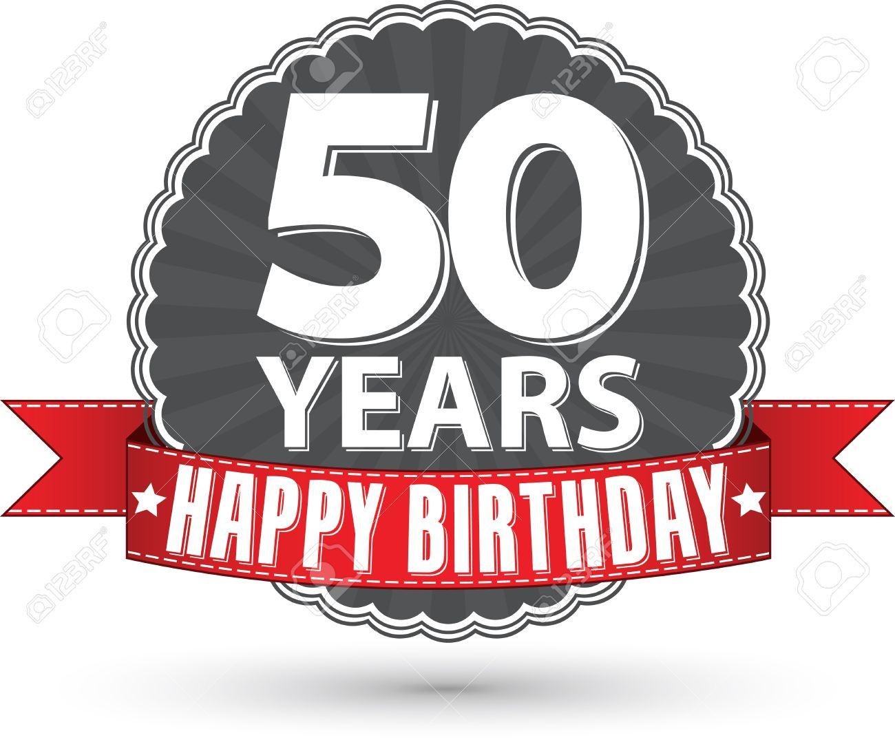 Happy Birthday 50 Years Retro Label With Red Ribbon Stock Vector