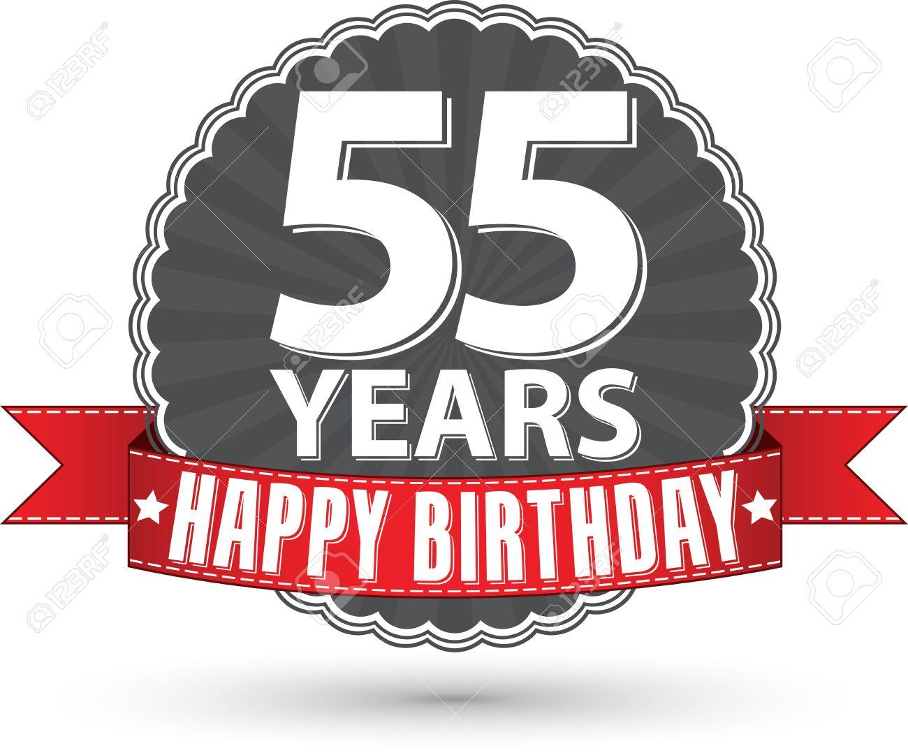 Auguri Buon Compleanno 55 Anni.Buon Compleanno 55 Anni Etichetta Retro Con Nastro Rosso