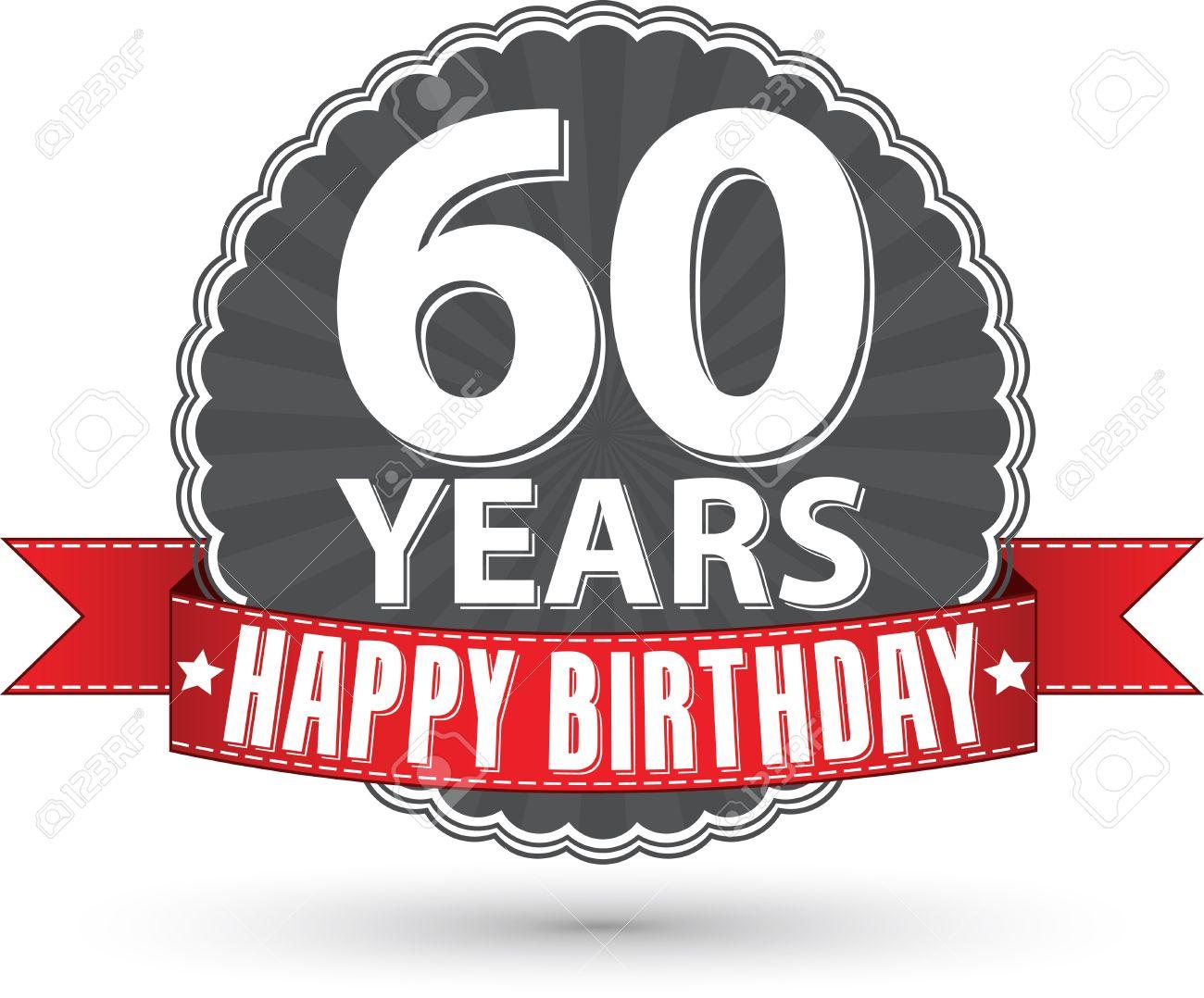 Buon Compleanno 60 Anni Etichetta Retrò Con Nastro Rosso
