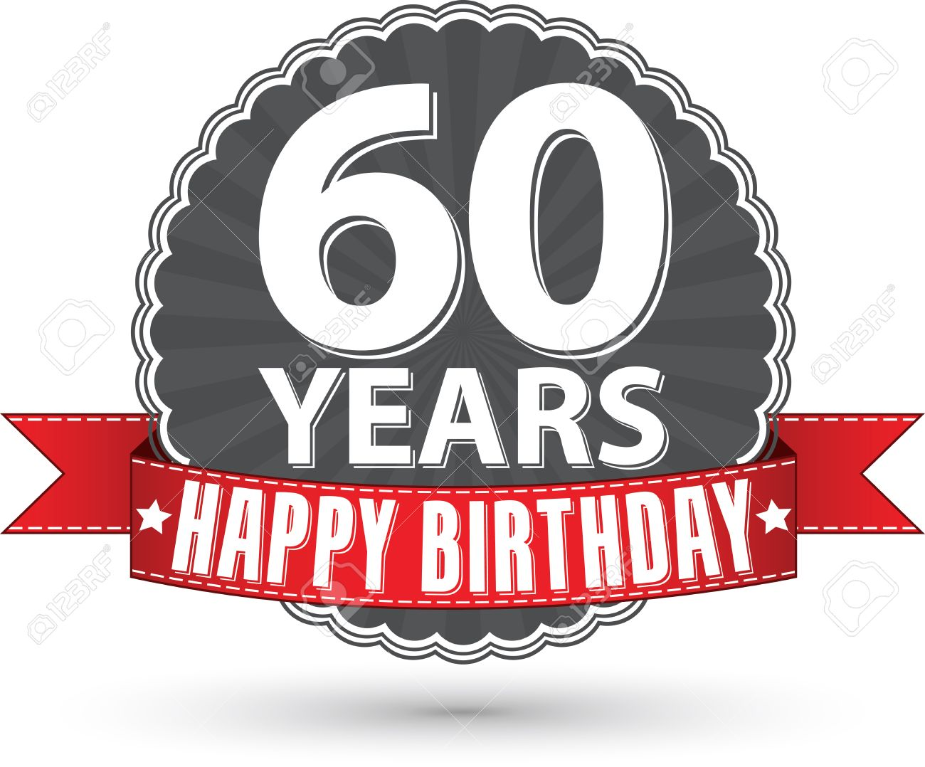 Happy birthday 60 years retro label with red ribbon Stock Vector - 36053663