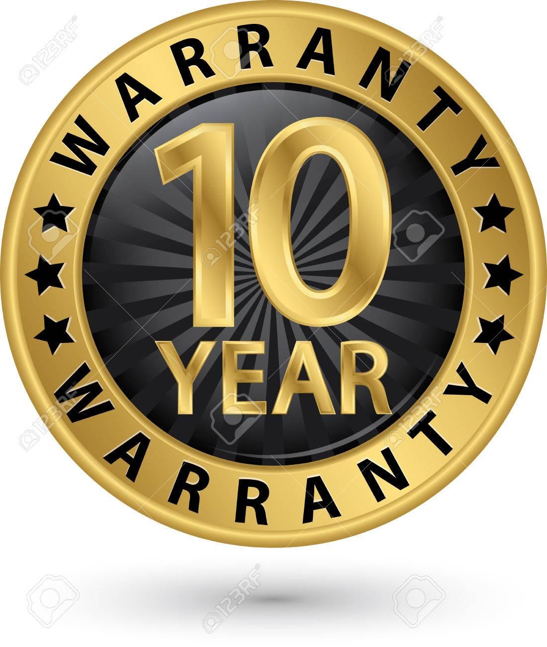 10 year warranty golden label, vector illustration - 51816435