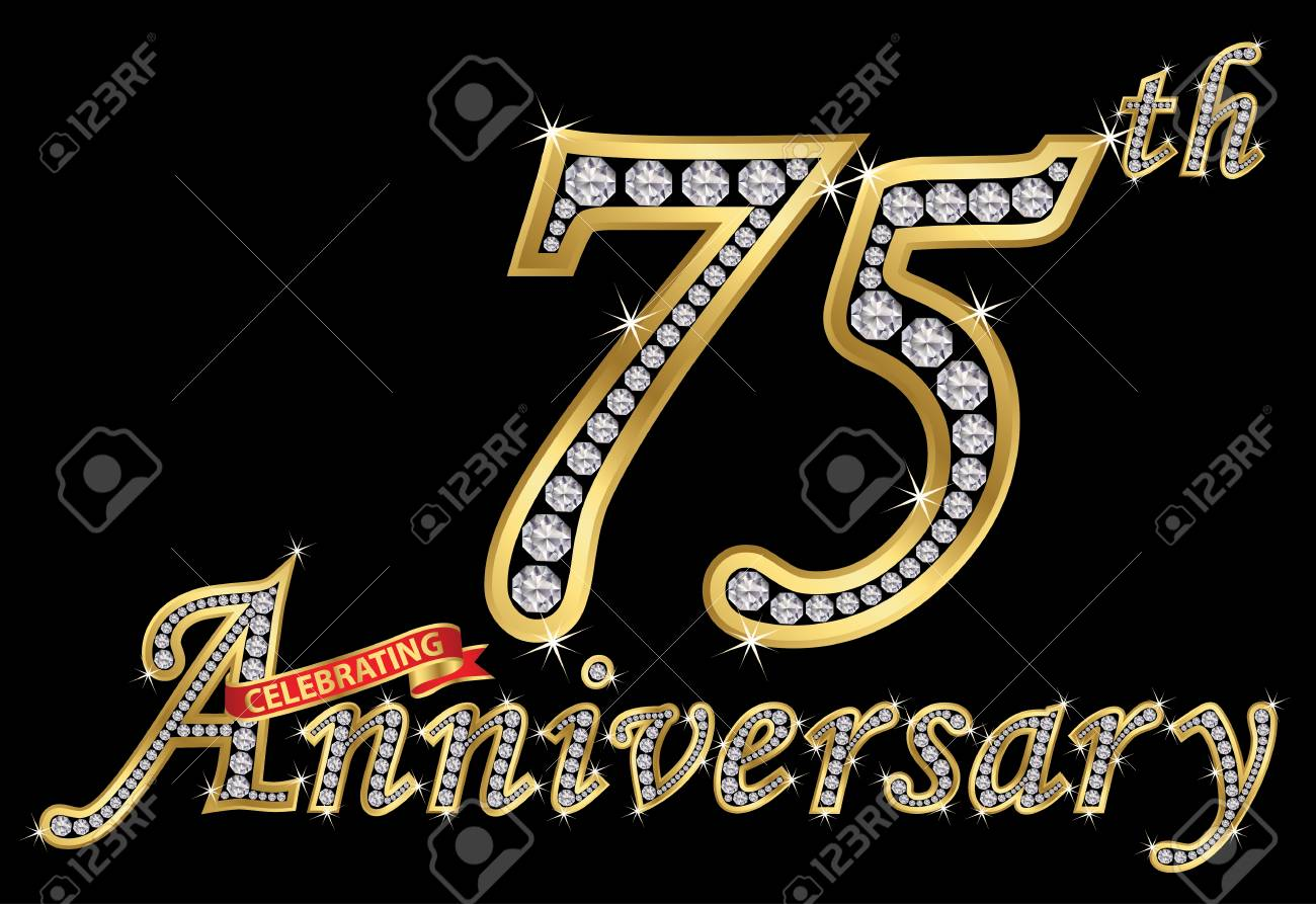 Celebrating 75th Anniversary Golden Sign With Diamonds Vector