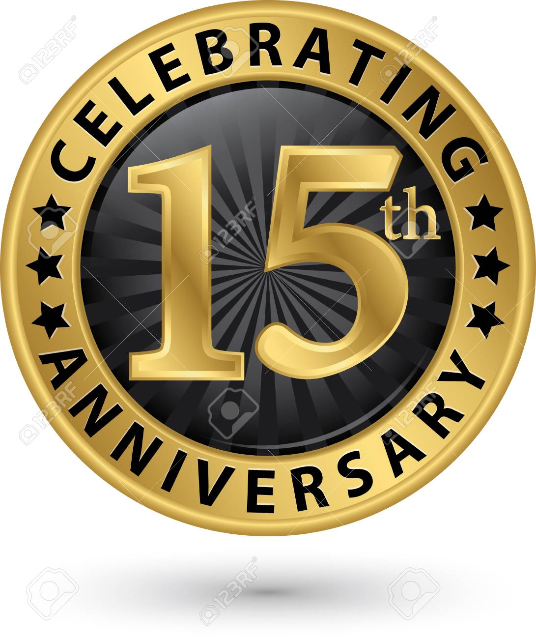 Celebrating 15th Anniversary Gold Label Vector Illustration Royalty Free Cliparts Vectors And Stock Illustration Image 97724737