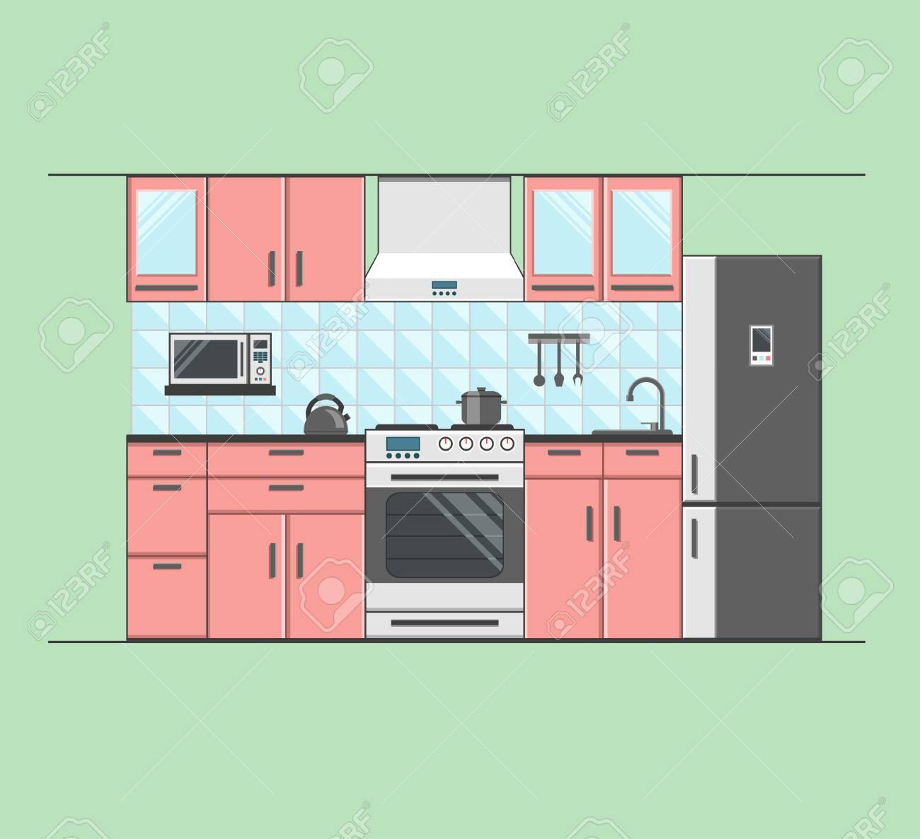 Kitchen Interior With Furniture Microwave Oven Fridge Teapot