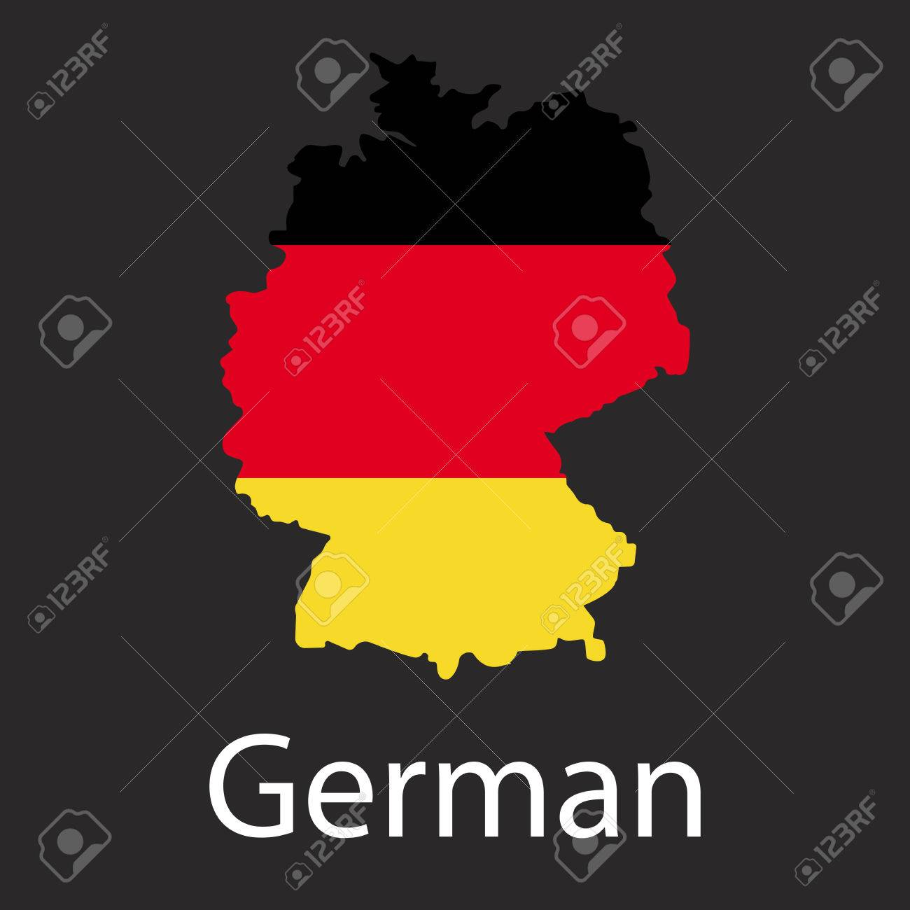 Country Of Germany Map.Map Of Germany Country In Color Of National Flag Silhouette