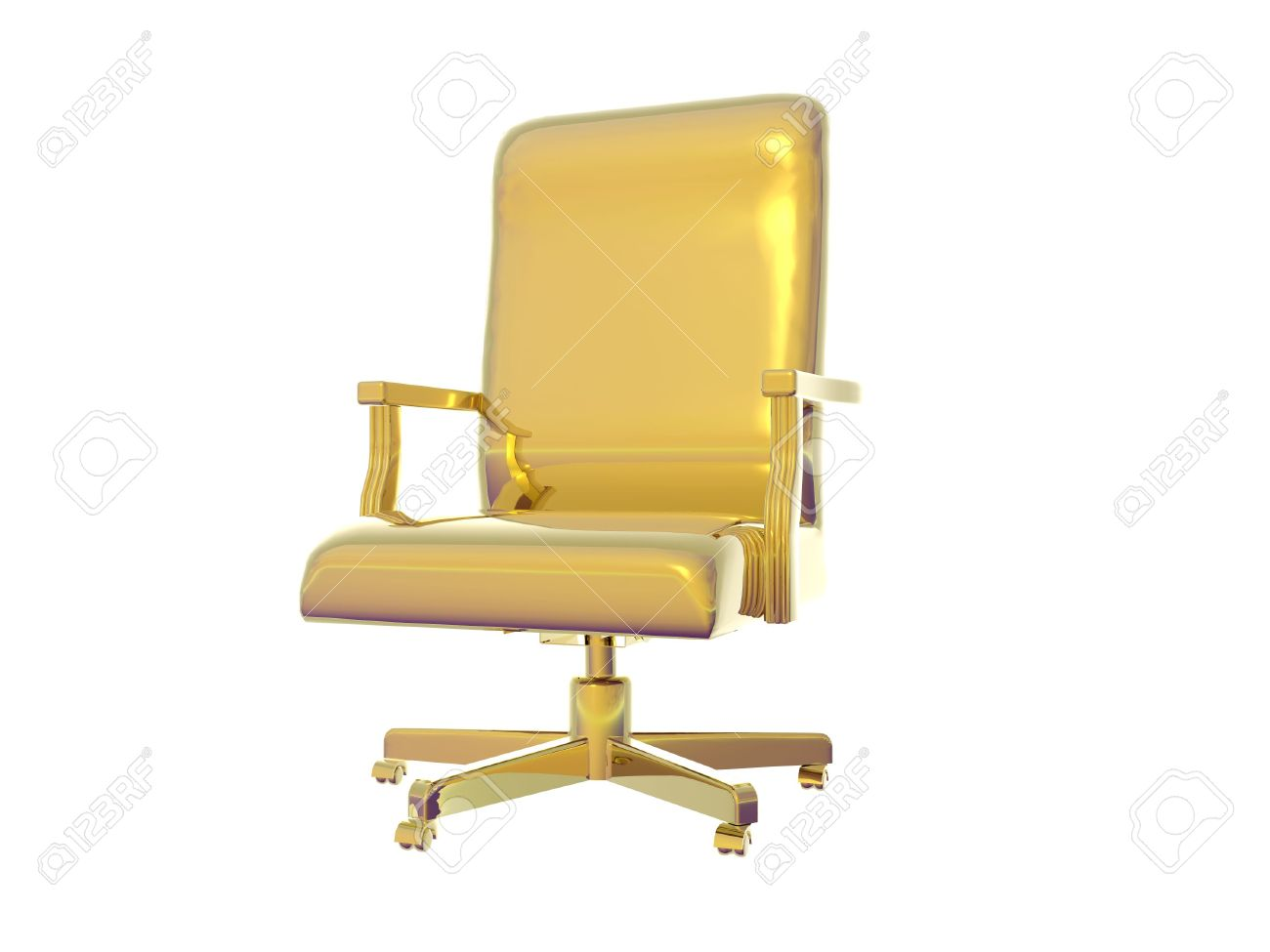 Attractive Isolated Gold Desk Chair Stock Photo   295144
