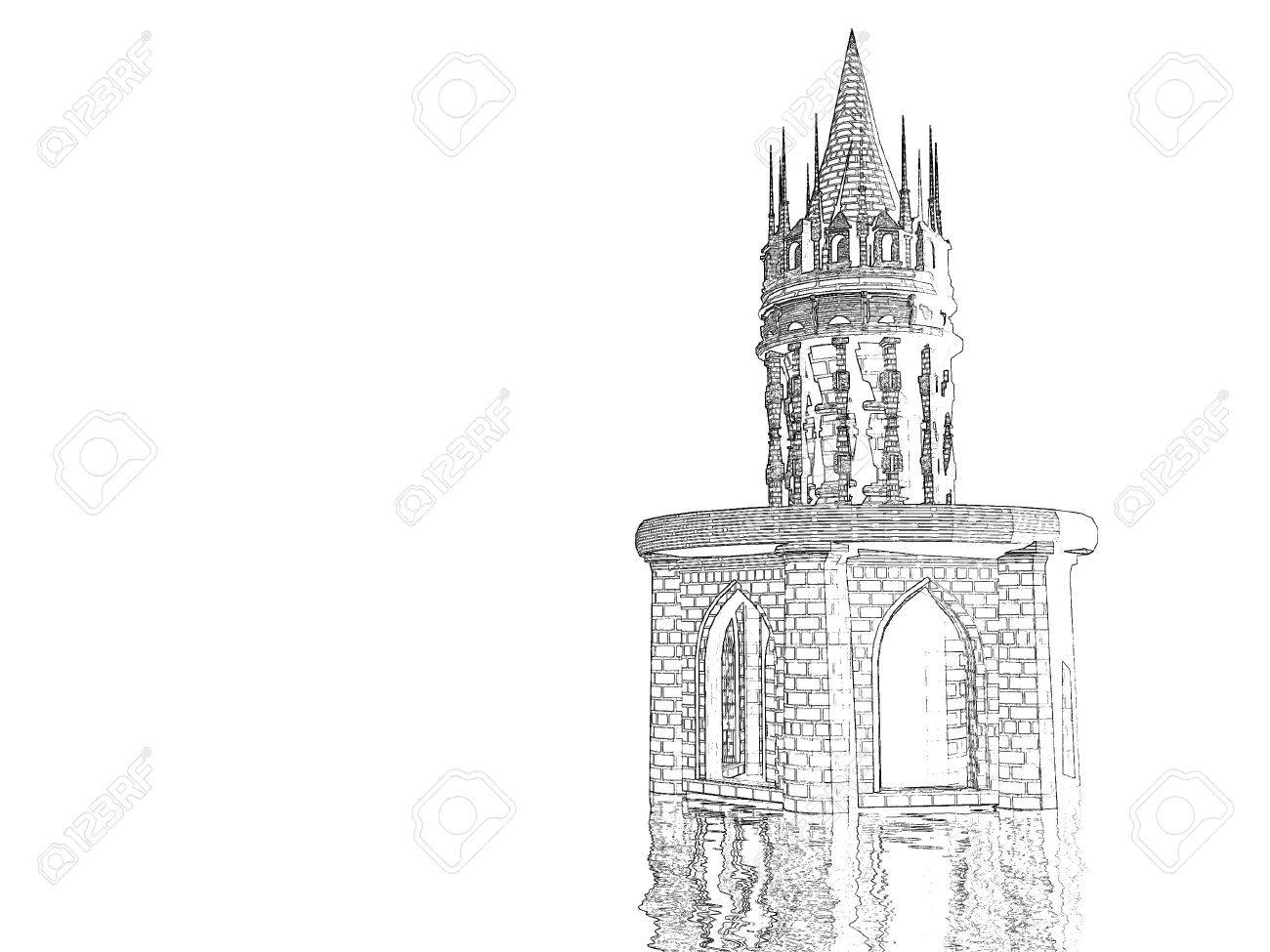 Monochrome castle pencil sketch stock photo 436563