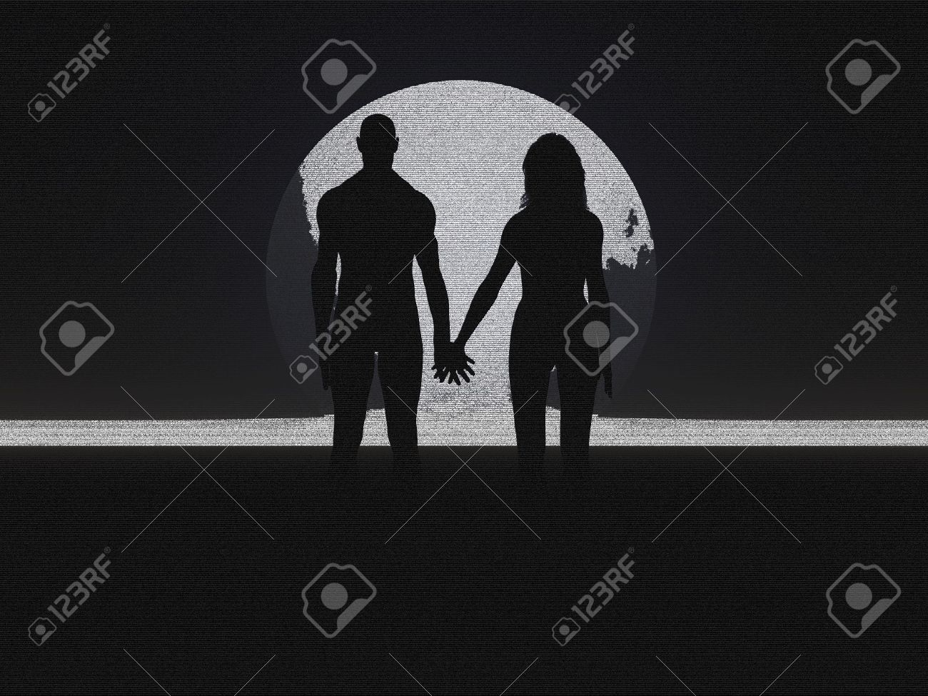 Couple holding hands silhouette pencil sketch