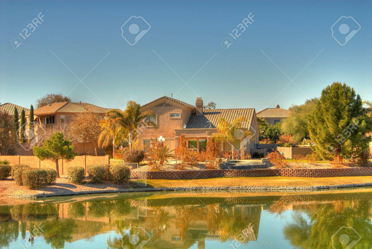 Beautiful Luxury Homes On A Desert Lake Stock Photo Picture And