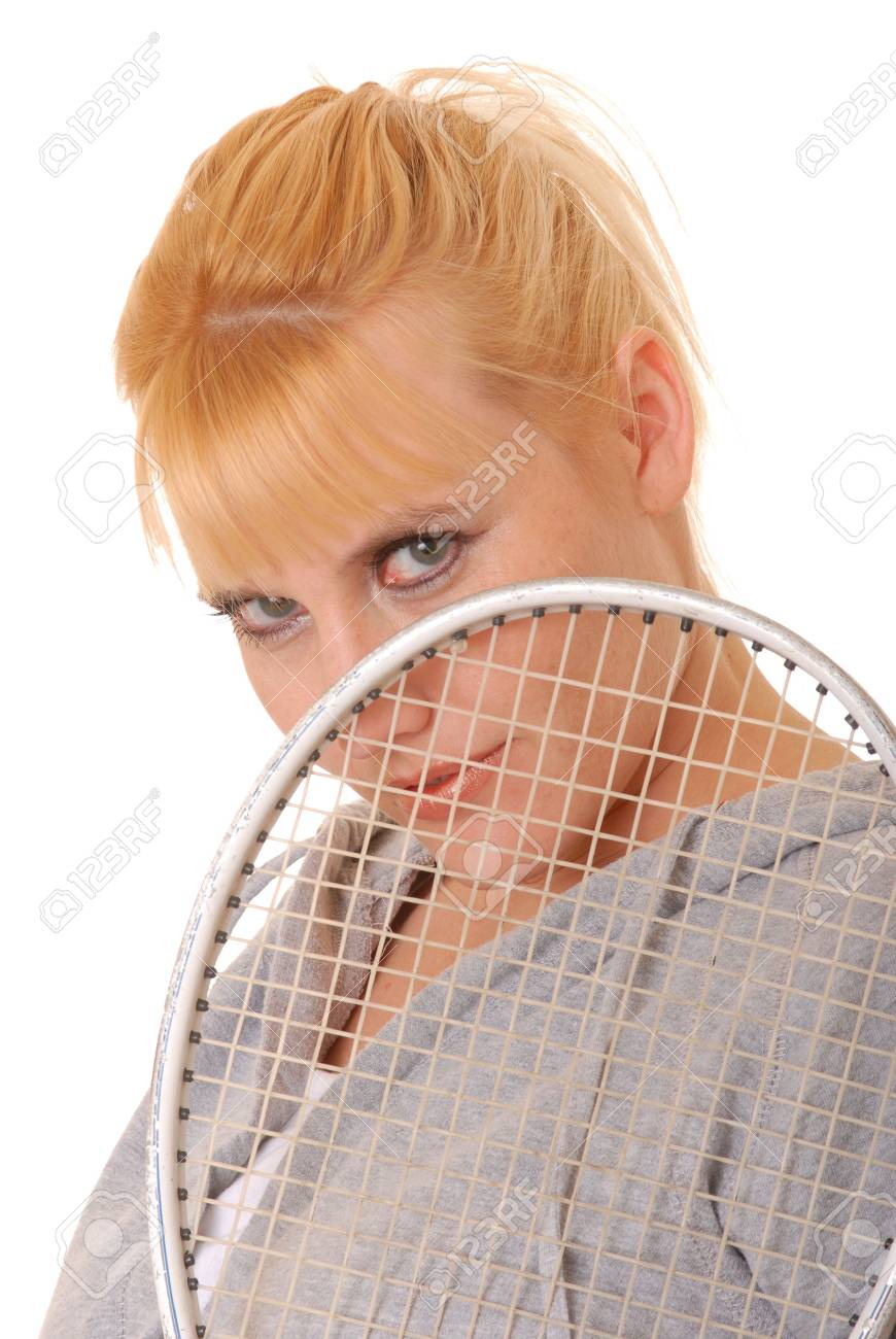 Lovely blond girl with a racket ball racket Stock Photo - 2242857