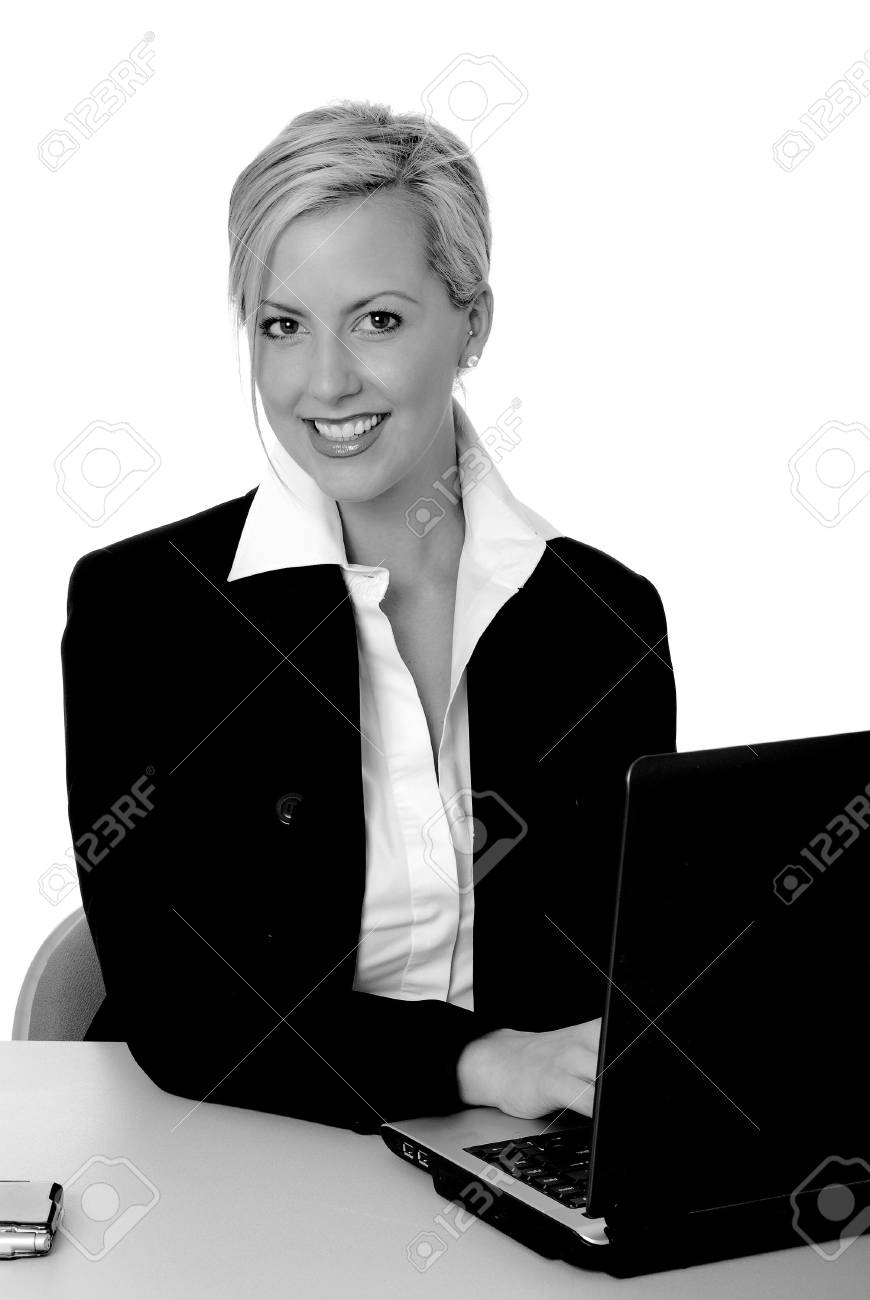 Laptop computer with a lovely blond on the screen Stock Photo - 2550831