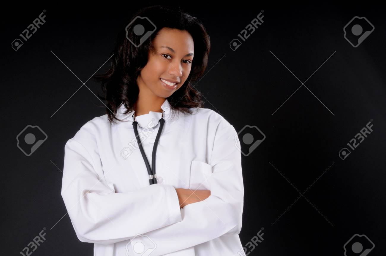Lovely young and beautiful african american Doctor or Nurse Stock Photo - 3025904