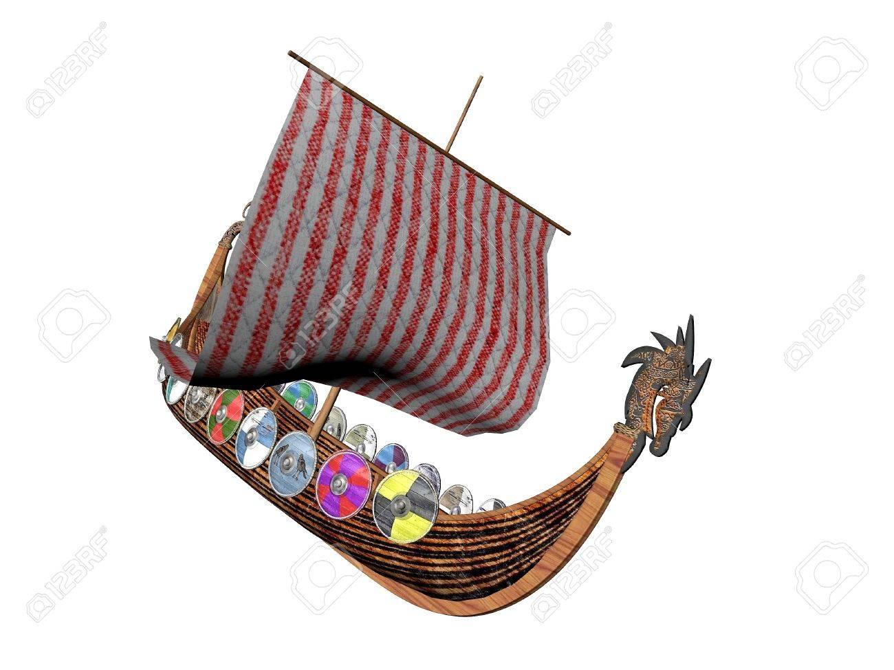 viking dragon ship raider isolated over white stock photo picture
