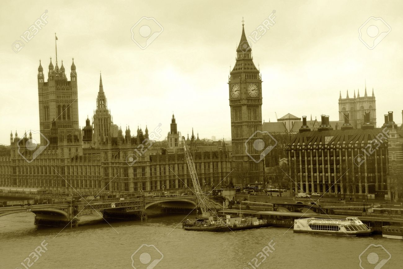 big view photography. Aerial View Of London England In Old Time Sepia Tone Photography Stock Photo - 9723877 Big