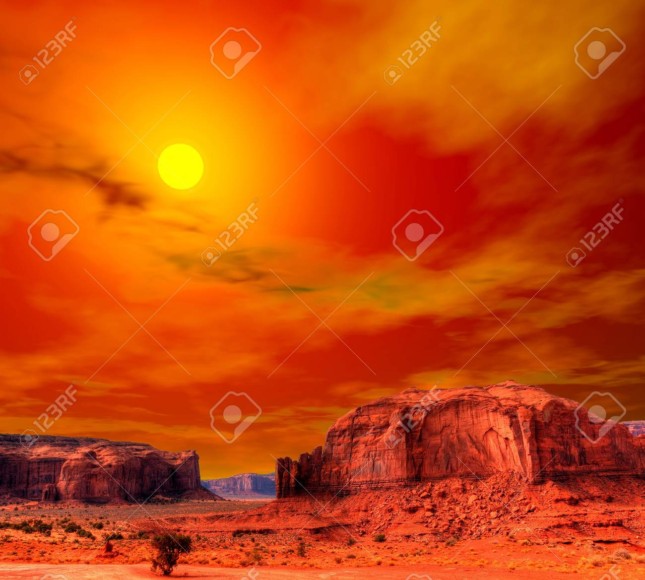 Sunset Monument Valley Arizona With Evening Warm Skies Stock Photo Picture And Royalty Free Image Image 34436594