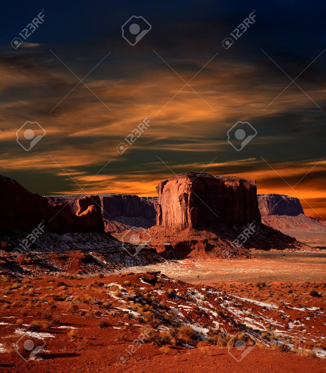 Sunset Monument Valley Arizona Site Of Many Cowboy Western Movies Stock Photo Picture And Royalty Free Image Image 54339256