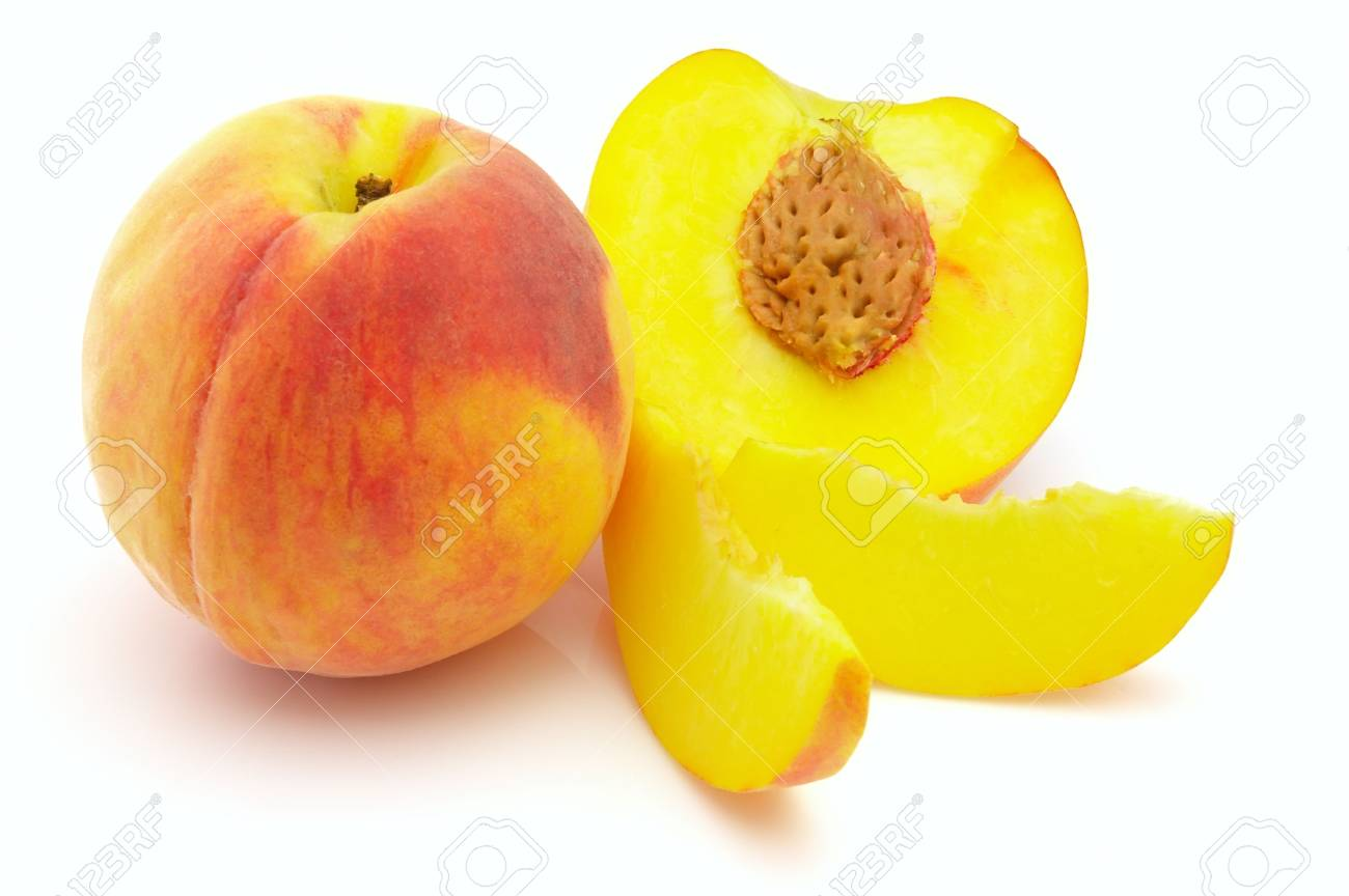 Ripe  peach on a white background Stock Photo - 8066528