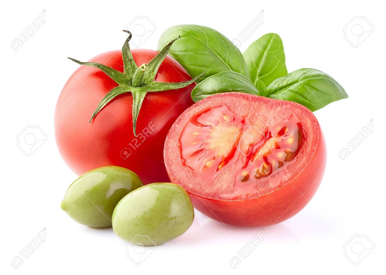 Tomatoes with olives and basil leaves on white background - 144916660