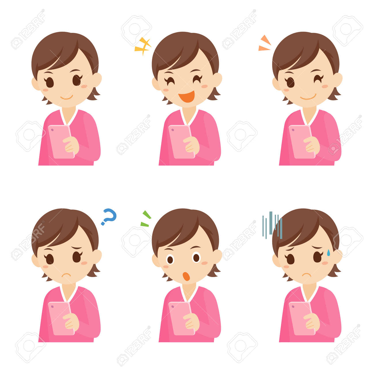 Girl with Mobile Smartphone Facial Expression Pose - 168556935