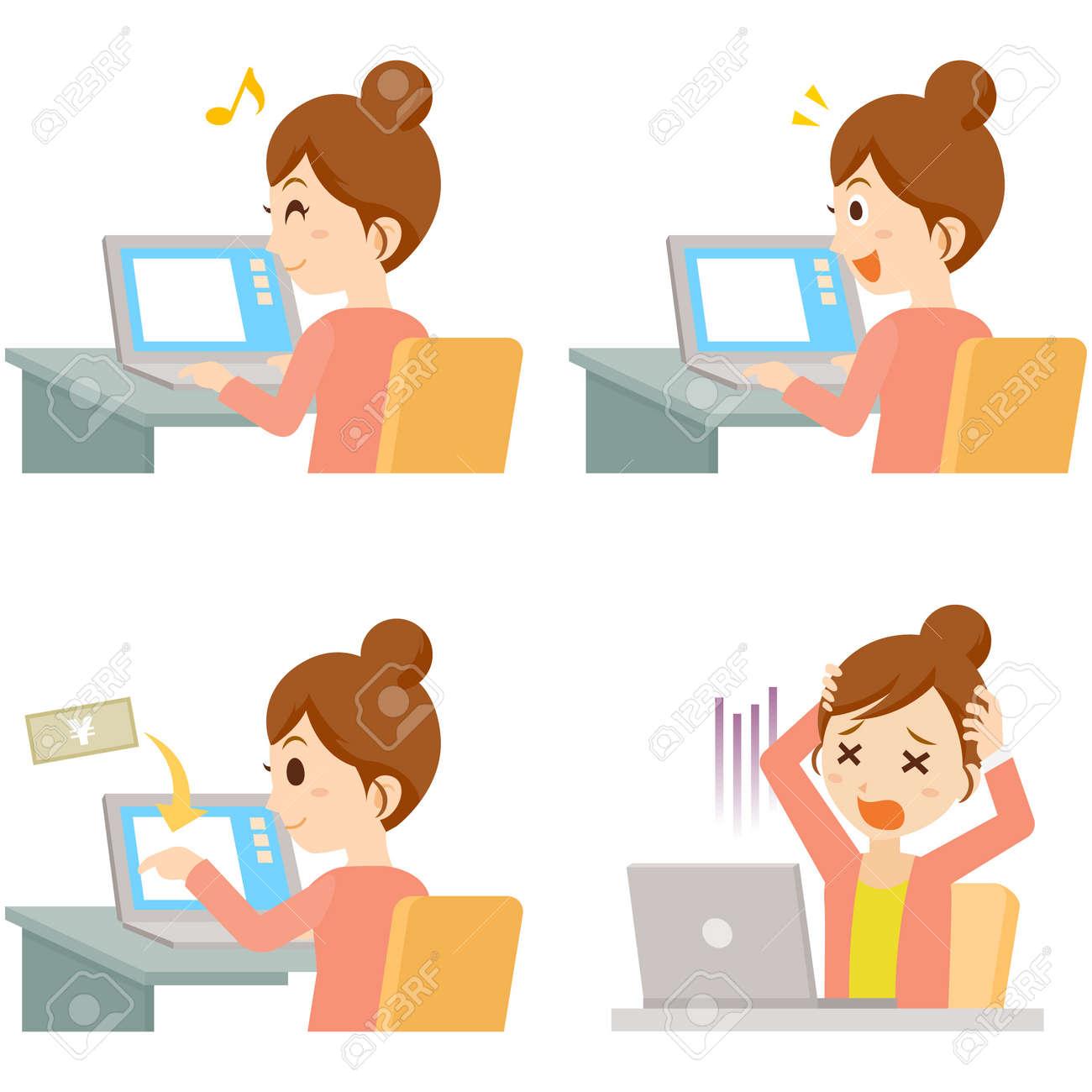 Woman using PC Pose Set - 168556944