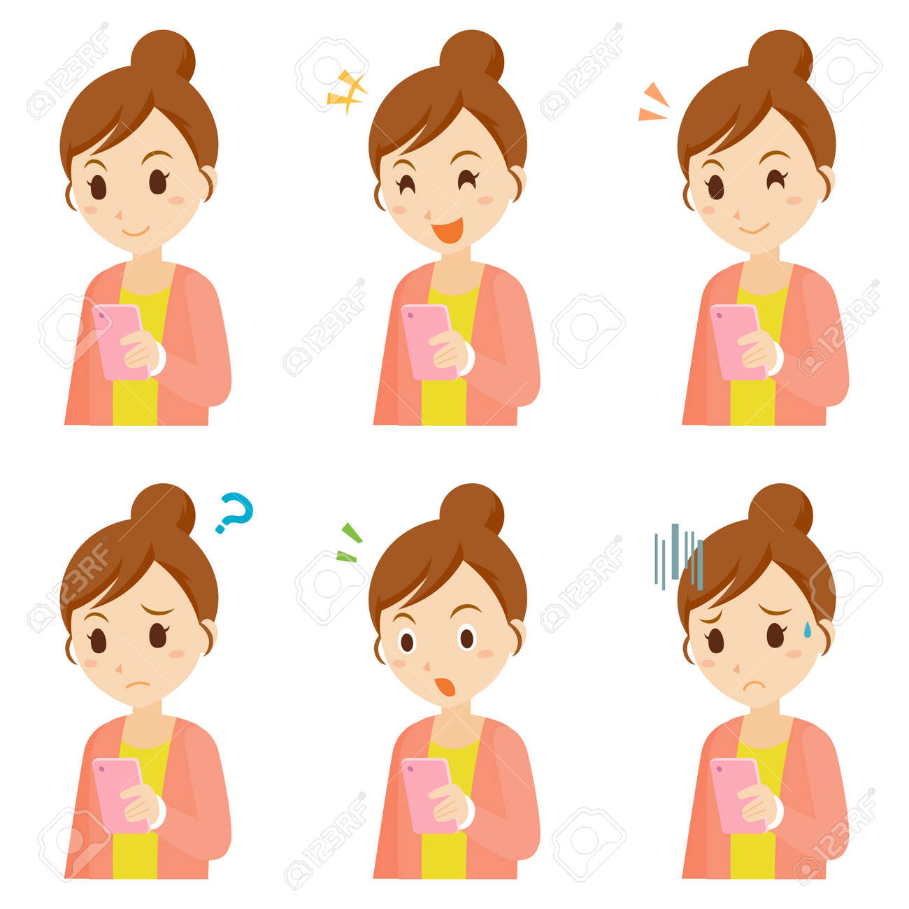 Woman using Mobile Phone Facial Expression Pose - 168556959