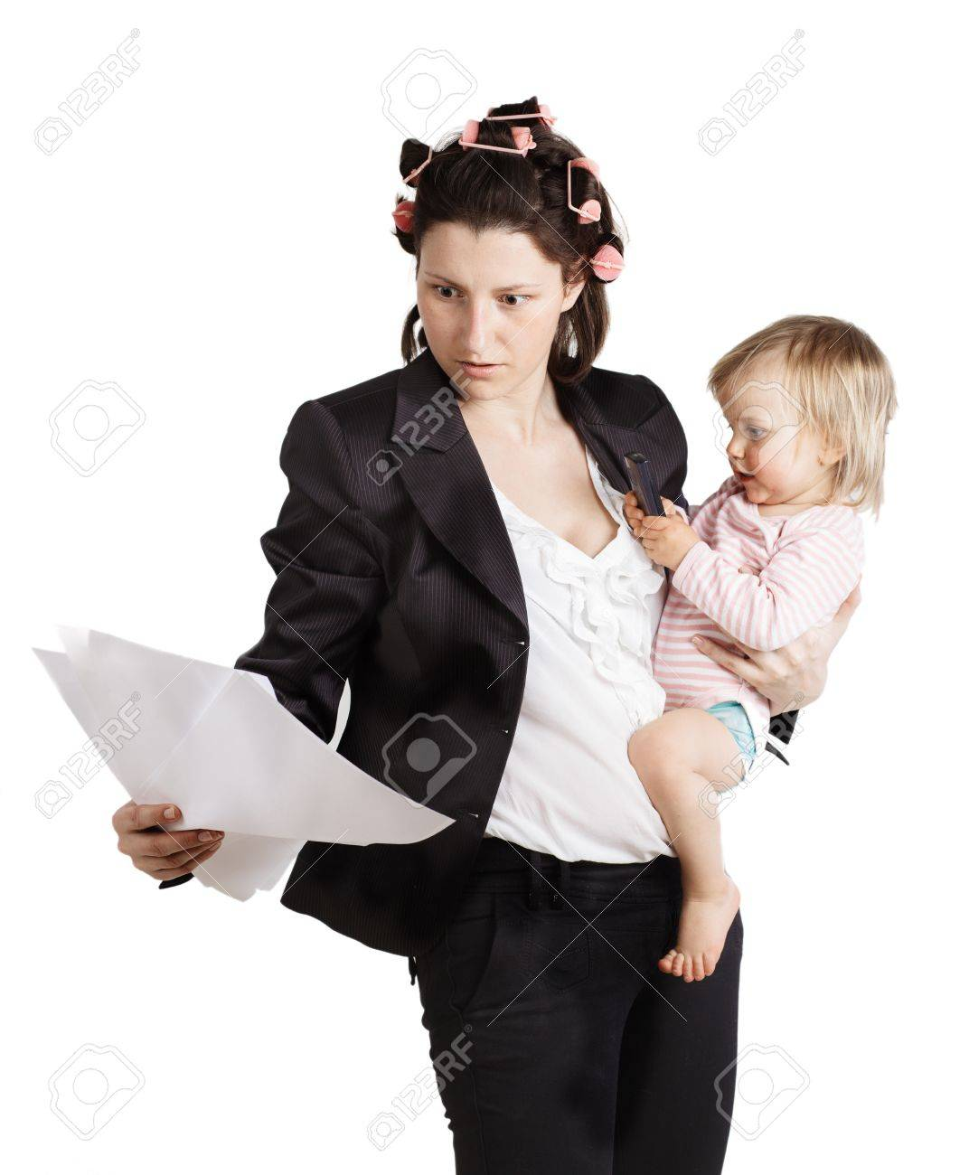 Business woman holding a baby  Isolated over white background Stock Photo - 19225261