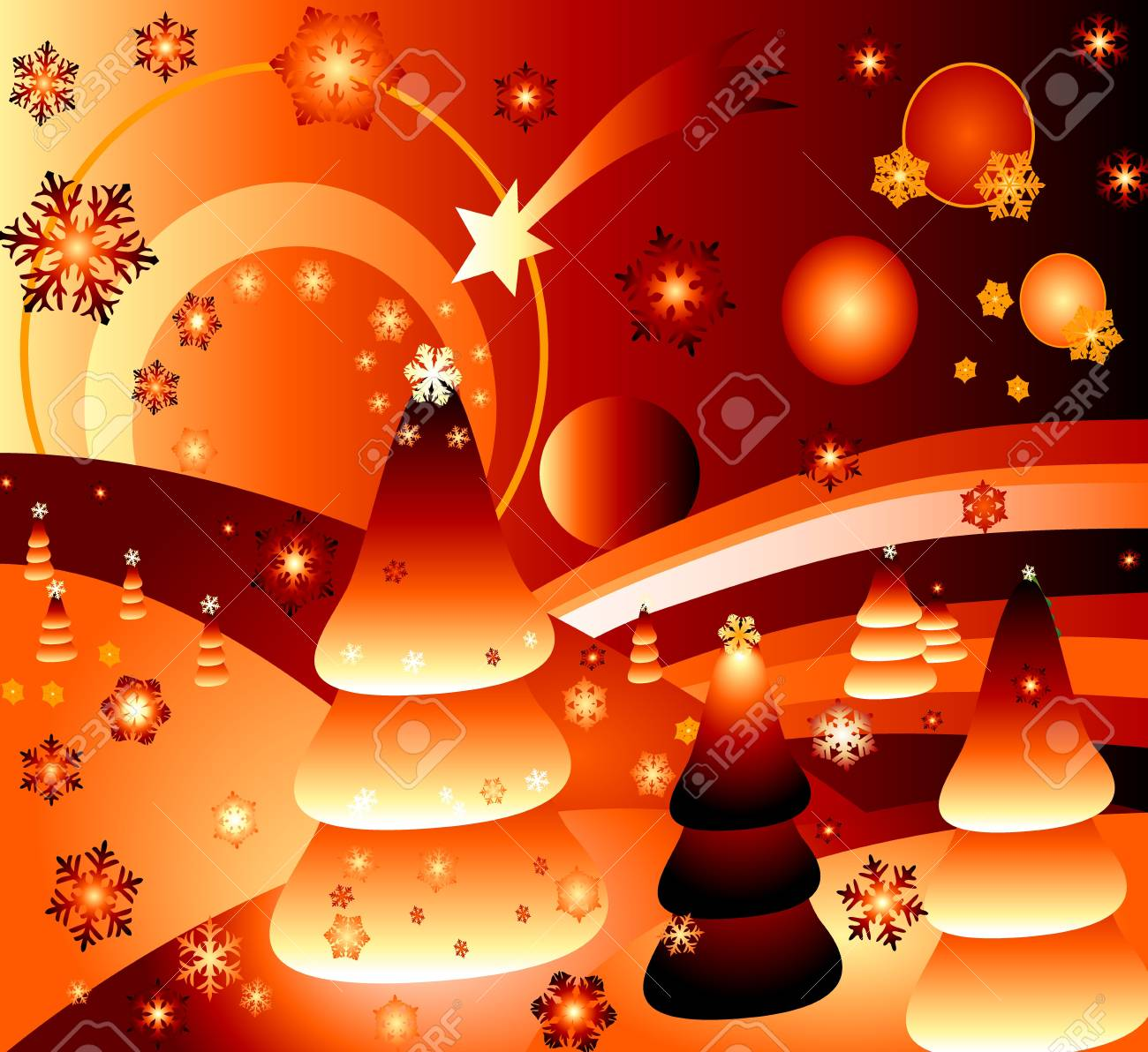 magic landscape with stars and comet Stock Photo - 593774