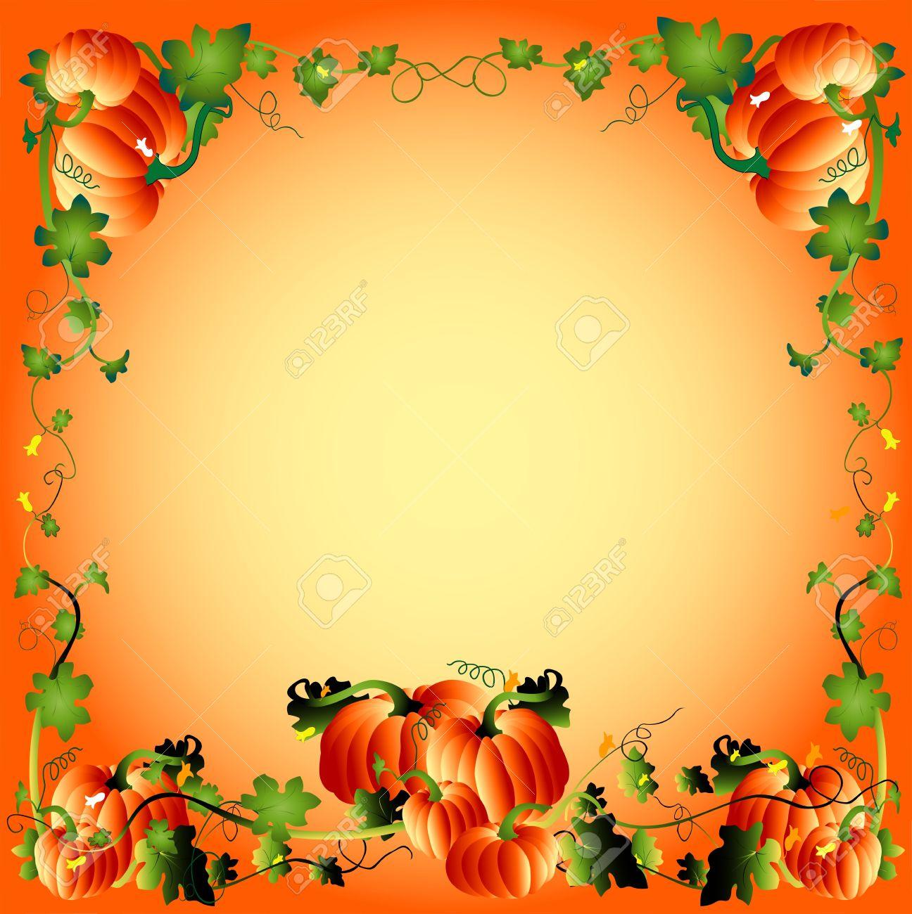 Pumpikin Frame, Autumn Athmosphere Illustration Stock Photo, Picture ...