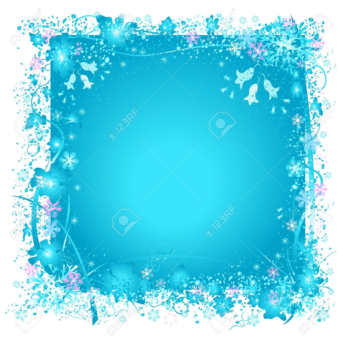 Frozen Nature, Snowflakes And Ice, Decorative Frame With Snowflakes ...